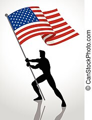 Silhouette illustration of a man holding the flag of The United States of America, flag bearer, patriotism concept