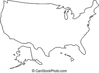 The United States of America map of black contour curves of vector illustration