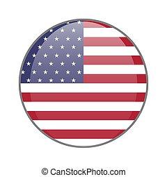 The United States of America national flag round glossy icon. USA badge Isolated on white background.