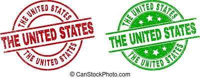 THE UNITED STATES Round Stamp Seals with Grunged Surface