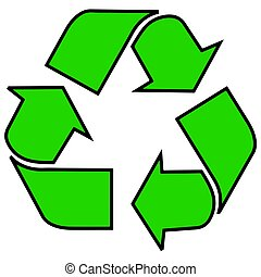 The Universal Recycling Symbol, here rendered with a black outline and green fill. Both filled and outline versions of the symbol are in use. Vector Format.
