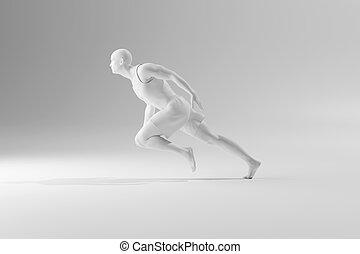 3D Illustration of an unstoppable runner in motion..