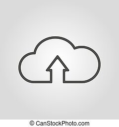 The upload to cloud icon. Download symbol. Flat