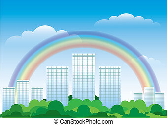 The urban landscape with a rainbow. Vector illustration.