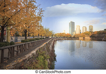 The urban view of Osaka city