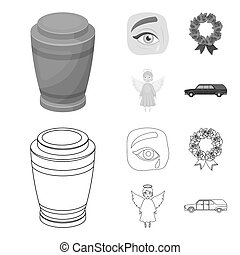 The urn with the ashes of the deceased, the tears of sorrow for the deceased at the funeral, the mourning wreath, the angel of death. Funeral ceremony set collection icons in outline, monochrome style bitmap symbol stock illustration .