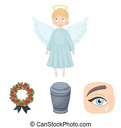 The urn with the ashes of the deceased, the tears of sorrow for the deceased at the funeral, the mourning wreath, the angel of death. Funeral ceremony set collection icons in cartoon style vector symbol stock illustration web.