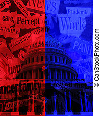 The US Capitol dome in Washington DC red and blue with Coronavirus and economy news