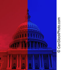 The US Capitol dome in Washington DC with half Republican red and half Democrat blue