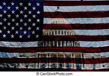The US Capitol in Washington DC with American flag background