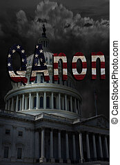 The US Capitol in Washington DC with dark storm clouds and QAnon text
