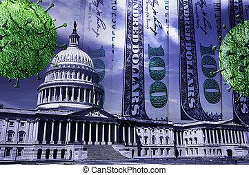 The US capitol with money and Coronavirus