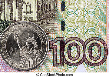 The US dollar and a hundred rubles