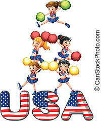The USA cheering squad - Illustration of the USA cheering ...