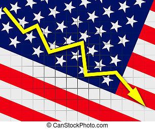 The USA flag and arrow graph going down