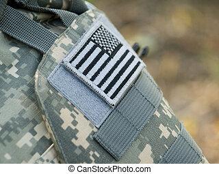 The USA flag - The US Army badge uniform flag closeup