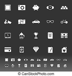The useful collection icons on gray background