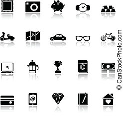 The useful collection icons with reflect on white background
