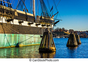 The USS Constellation in the Inner Harbor of Baltimore,...