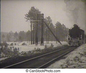 The USSR, a newsreel, the old steam locomotive.