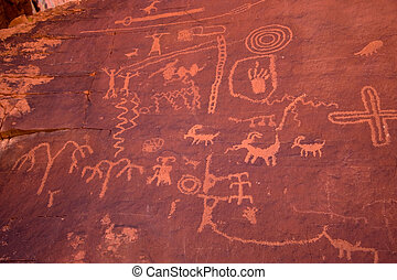 The Valley of Fire Petroglyphs on Atlatl Rock - Petroglyphs ...