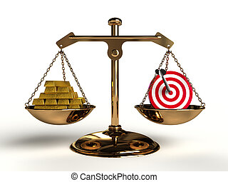 The value of Target. On a golden balance, are compared in a...