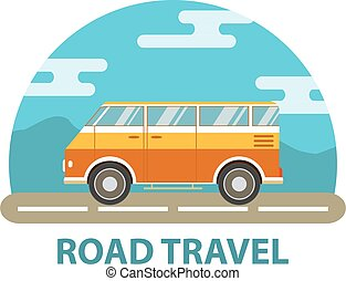 The van for travel.Tour bus.Road Trip.Travel by car.