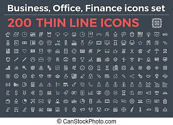 The variety of thin line icons for business, office, finance theme vector illustration. Editable Stroke.