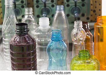 The various type  sample of plastic bottle.