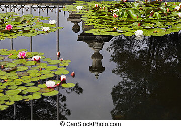 The vase reflected in water of a pond