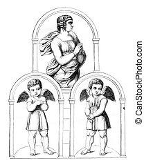 The Vatican, vintage engraving.