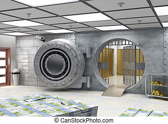 The Vault - Open vault with banknotes and gold bars