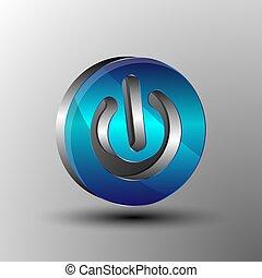 The vector 3D logo power button.