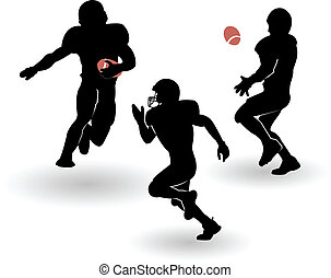 the vector american football silhouettes set