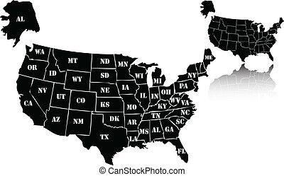 the vector black usa map set