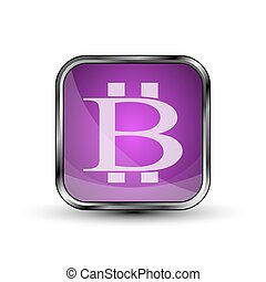 The vector button with bitcoin symbol.