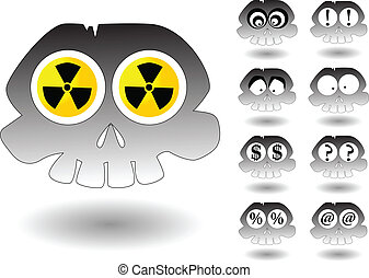 the vector cartoon skull set