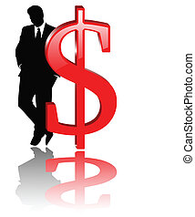 the vector dollar sign with businessman