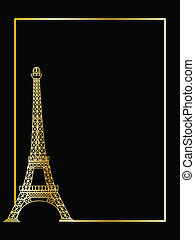 the vector eiffel tower eps 8 - the gold vector eiffel tower...