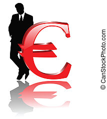 the vector euro sign with businessman