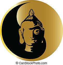 the vector gold buddha
