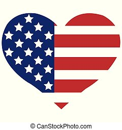 The vector heart with american flag colors