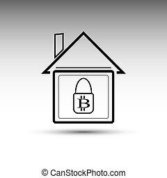 The vector icon of bitcoin.