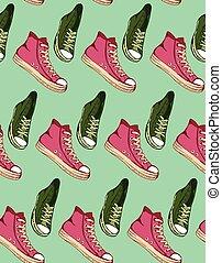 The vector illustration hand drawn sketch turquoise shoes pattern for design.