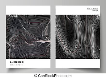 The vector illustration layout of A4 format modern cover mockups design templates for brochure, magazine, flyer, booklet, annual report. 3D grid surface, wavy vector background with ripple effect.