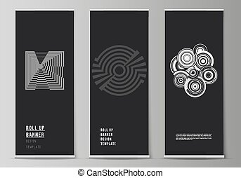The vector illustration layout of roll up banner stands, vertical flyers, flags design business templates. Trendy geometric abstract background in minimalistic flat style with dynamic composition.