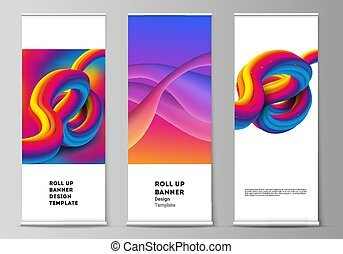 The vector illustration layout of roll up banner stands, vertical flyers, flags design business templates. Futuristic technology design, colorful backgrounds with fluid gradient shapes composition.