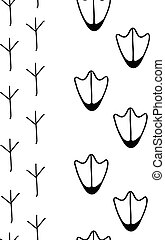 the vector illustration of birds footprints in black and white