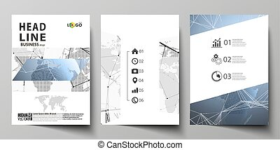 The vector illustration of editable layout of three A4 format modern covers design templates for brochure, magazine, flyer, booklet. World globe on blue. Global network connections, lines and dots.