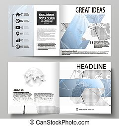 The vector illustration of the editable layout of two covers templates for square design bi fold brochure, magazine, flyer, booklet. World globe on blue. Global network connections, lines and dots.